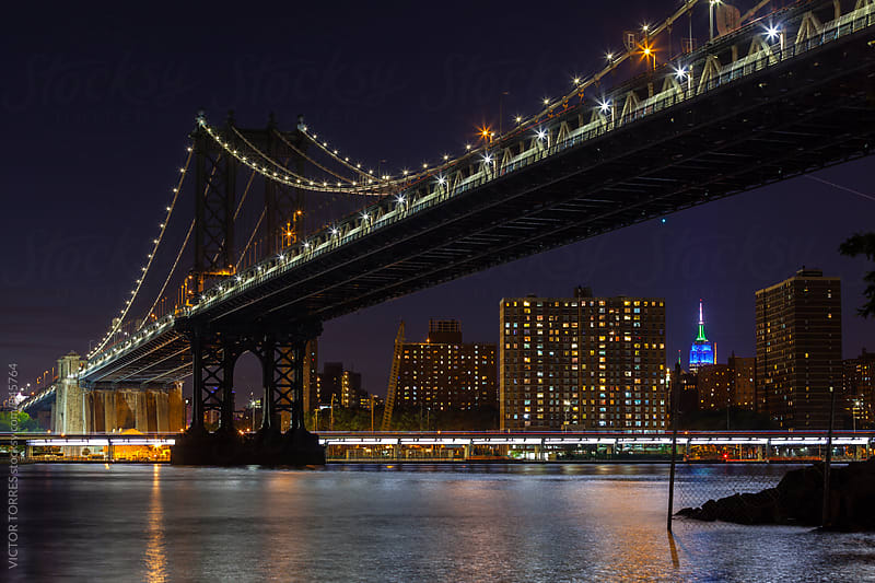 Manhattan Bridge at Night by VICTOR TORRES for Stocksy United