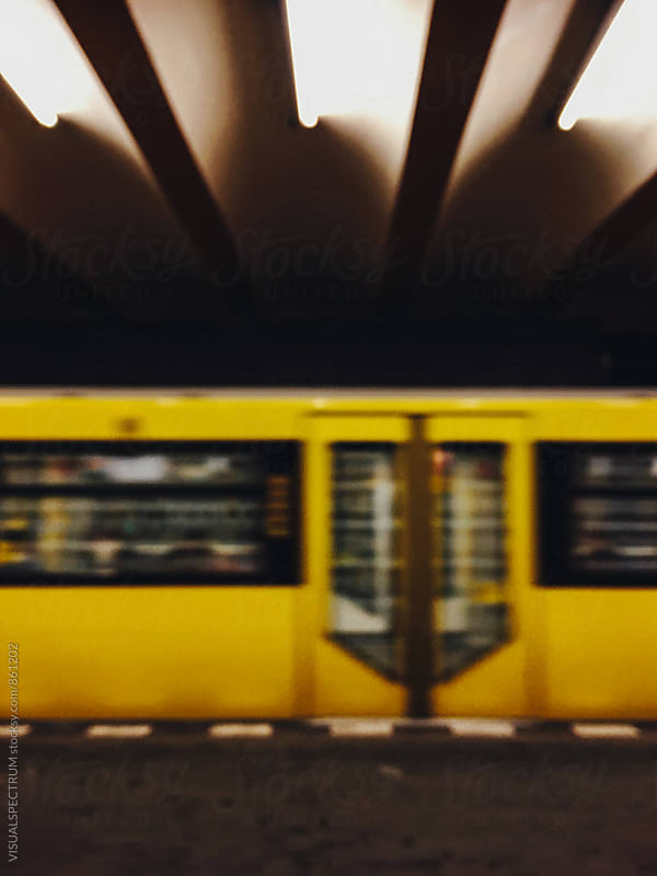 Yellow Subway Train Blurred by Julien L. Balmer for Stocksy United