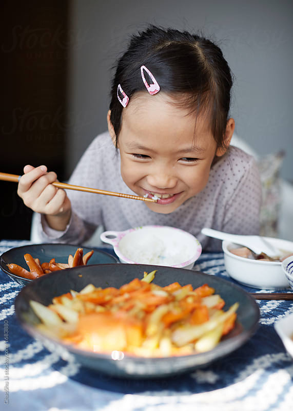 Chinese child healthy lunch, at home