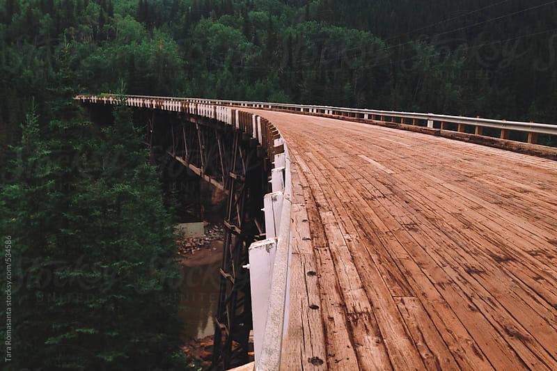 Old Kiskatinaw Curved Bridge, only original timber bridge of the Alaska Highway still in use by Tara Romasanta for Stocksy United