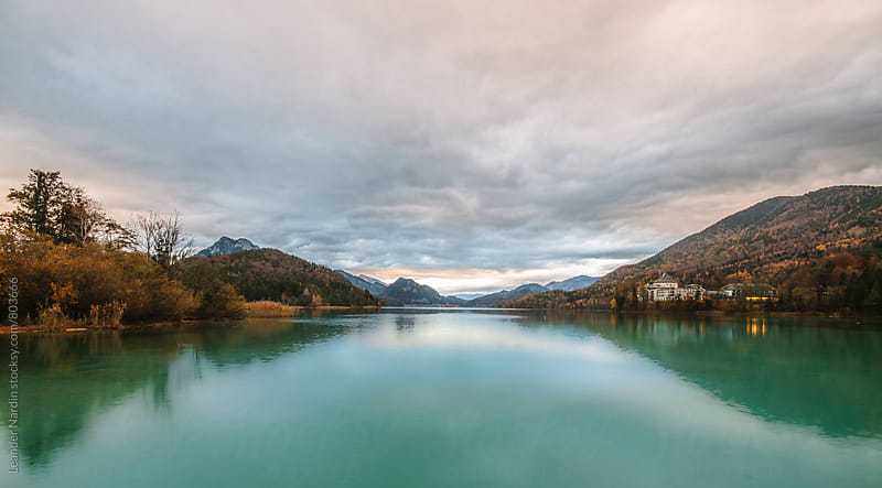 beautfiul austrian lake in autumnal landscape by Leander Nardin for Stocksy United