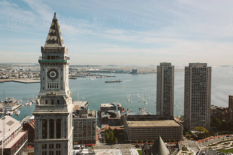 Aerial View of Boston Harbor from Financial District by Raymond Forbes LLC for Stocksy United