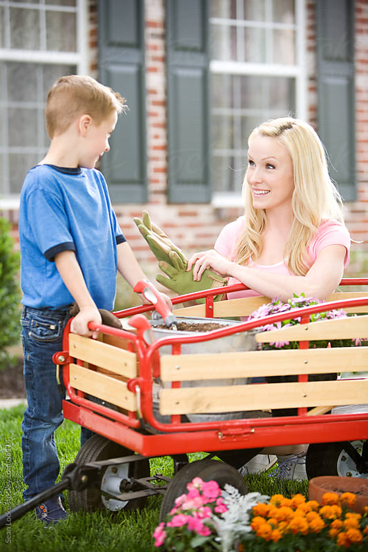 Planting: Mother and Son Work on Gardening by Sean Locke for Stocksy United