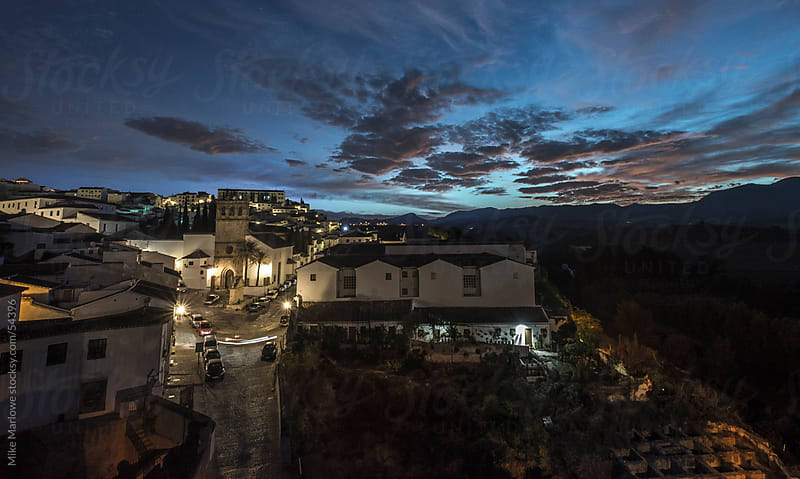 Night shot of a mediterranean village. by Mike Marlowe for Stocksy United