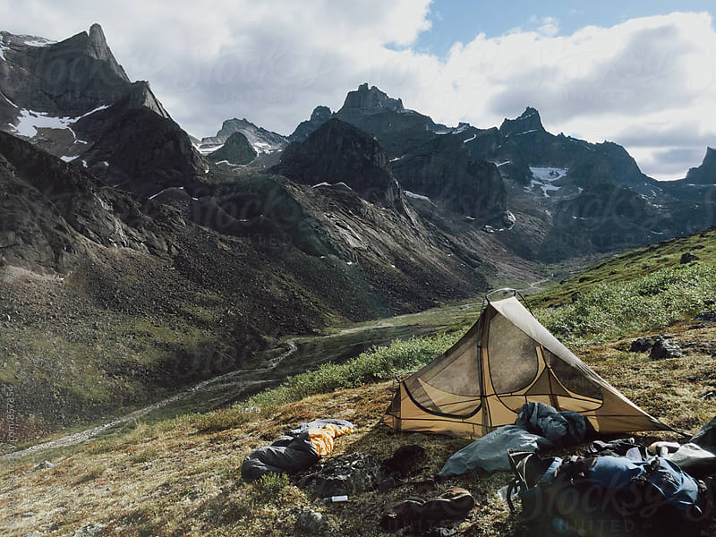 Tent on Green Mountainside by Kevin Russ for Stocksy United