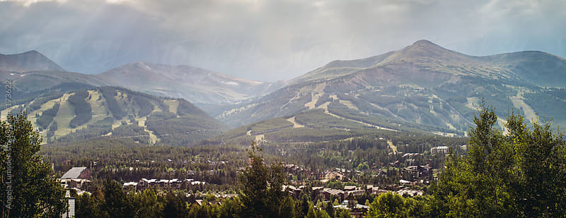 Panorama of Breckenridge ski resort in summer by Angela Lumsden for Stocksy United