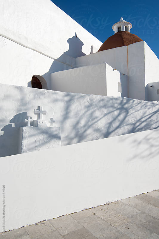 White walls with three crosses of Ibiza by Bisual Studio for Stocksy United