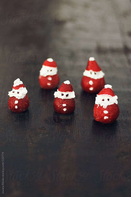 Strawberries and cream made santa claus by Jovana Rikalo for Stocksy United