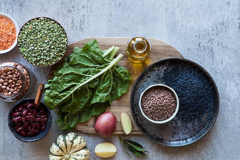 Food ingredients on prep  table by Nadine Greeff for Stocksy United