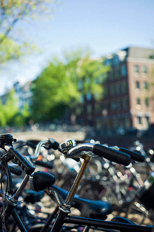 Bicycles parked in Amsterdam by GIC for Stocksy United