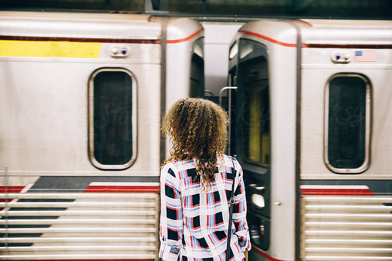 Adult Woman Waiting for Subway by Jayme Burrows for Stocksy United