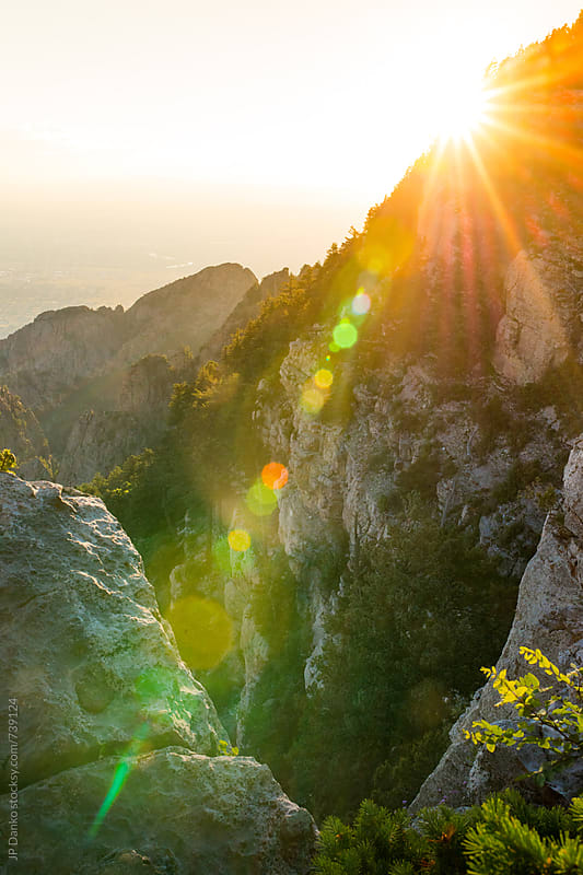 Sandia Peak Tram Albuquerque New Mexico Mountain Canyon at Sunset by JP Danko for Stocksy United