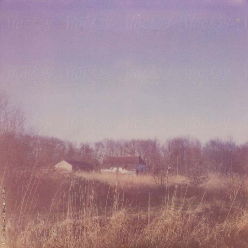 Frameless polaroid photo of an isolated farm house in rural Gelderland, The Netherlands. by Kaat Zoetekouw for Stocksy United