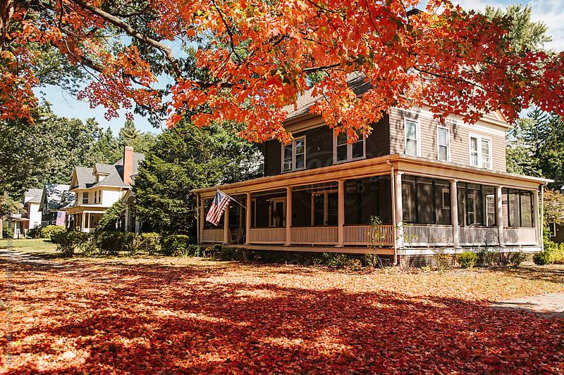 New England Neighborhood in Autumn Season by Raymond Forbes LLC for Stocksy United