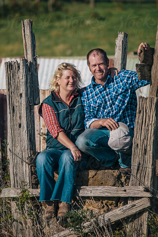 Farming couple on Homestead by Rowena Naylor for Stocksy United