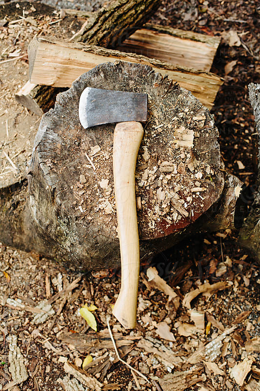 axe used for firewood by Brian Powell for Stocksy United