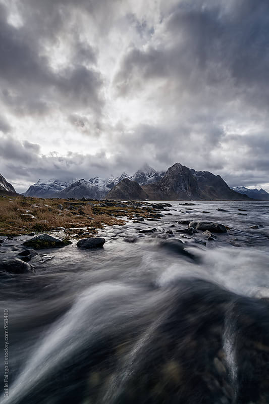 Overcast landscape in Lofoten,Norway by Guille Faingold for Stocksy United