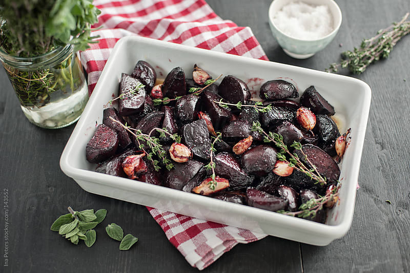 Food: Red Beet stewed with Balsamic Vinegar, Olive Oil, Garlic by Ina Peters for Stocksy United