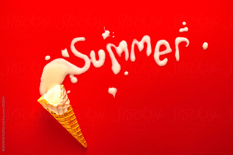 Summer word shaped with vanilla ice cream over red background. by BONNINSTUDIO for Stocksy United