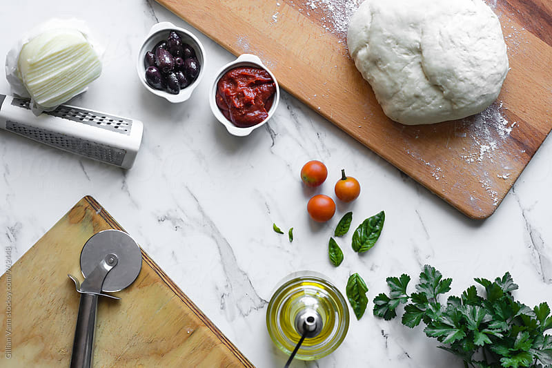 ingredients for pizza by Gillian Vann for Stocksy United