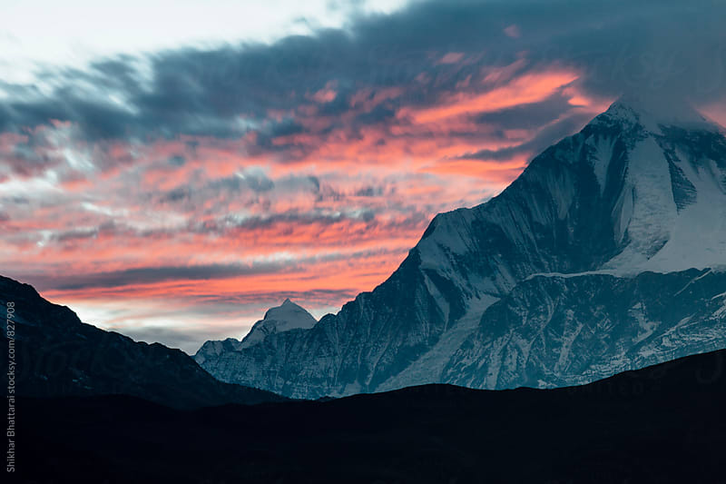 Sunset in the himalayas. by Shikhar Bhattarai for Stocksy United