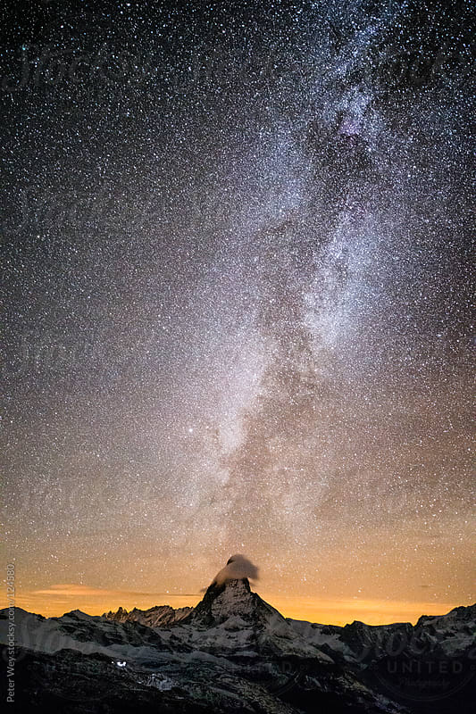 Matterhorn with milkyway by Peter Wey for Stocksy United