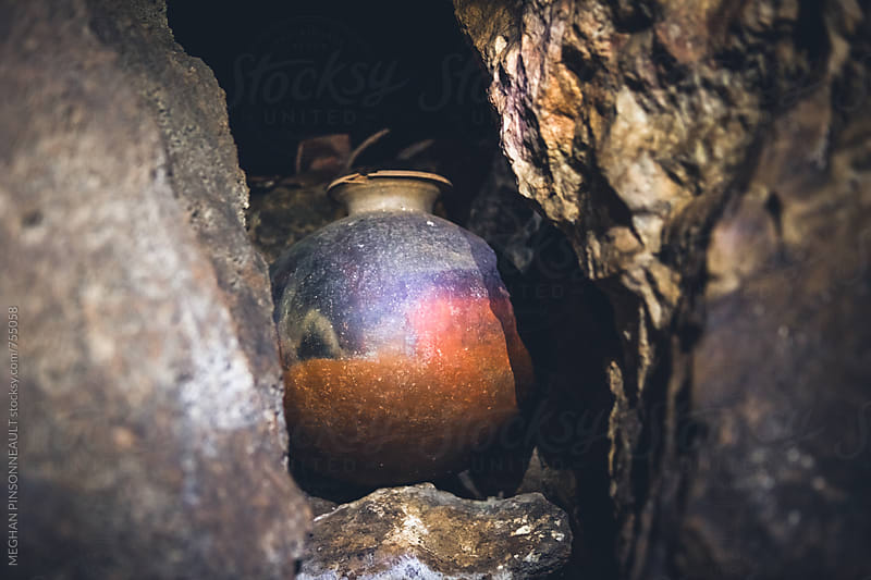 Ancient Mayan Pot in Sacificial Cave by MEGHAN PINSONNEAULT for Stocksy United