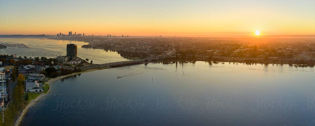 Canning Bridge and river Perth aerial panoramic photo