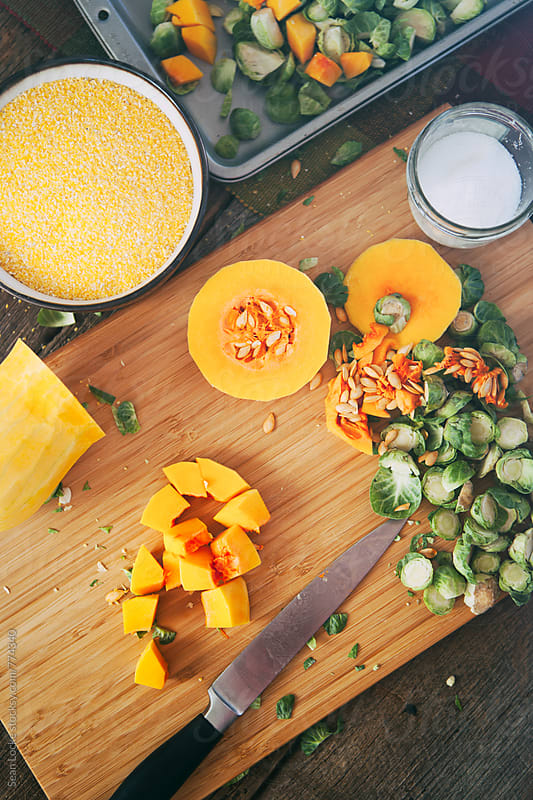 Polenta: Diced Up Butternut Squash And Other Ingredients by Sean Locke for Stocksy United
