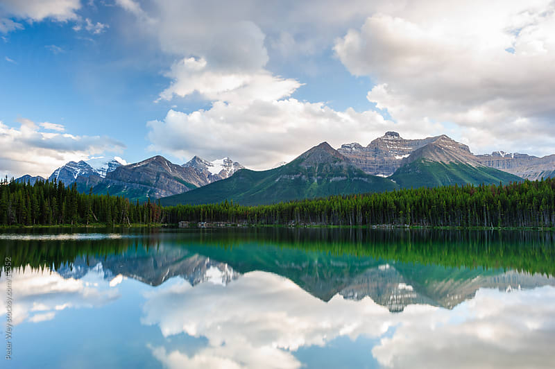 Mountain panorama from Herbert Lake by Peter Wey for Stocksy United