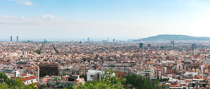 Barcelona Skyline with Mediterranean Sea by Zocky for Stocksy United