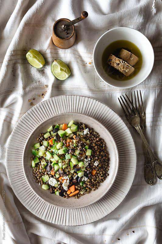 Mediterranean lentil salad by Pixel Stories for Stocksy United
