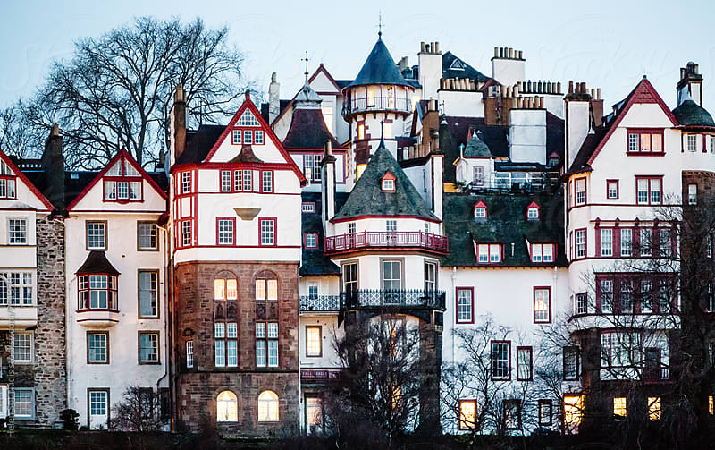 Beautiful Group of Buildings in Edinburgh at Twilight by Helen Sotiriadis for Stocksy United