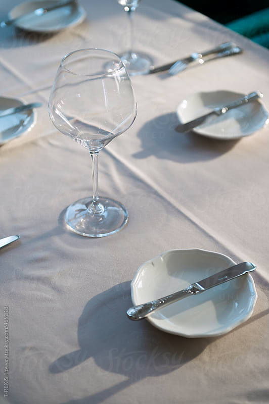 Restaurant service table set by T-REX & Flower for Stocksy United