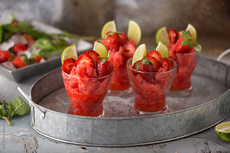 Frozen Strawberry Daiquiri Cocktails by Jeff Wasserman for Stocksy United