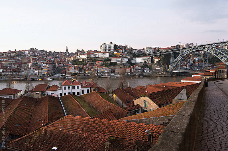 Roofs of wine cellars in Gaia, Oporto by Bisual Studio for Stocksy United