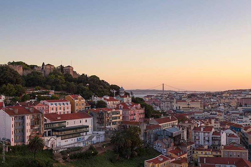 Lisbon Cityscape at Dusk, Portugal by Tom Uhlenberg for Stocksy United
