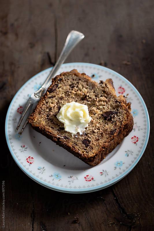 plumcake with banana, chocolate and hazelzut by Laura Adani for Stocksy United