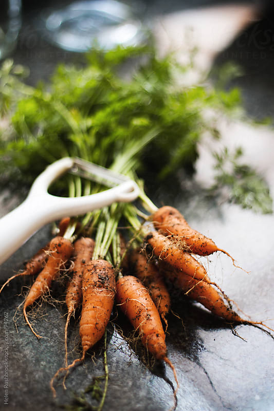 Freshly dug carrots with a vegetable peeler by Helen Rushbrook for Stocksy United