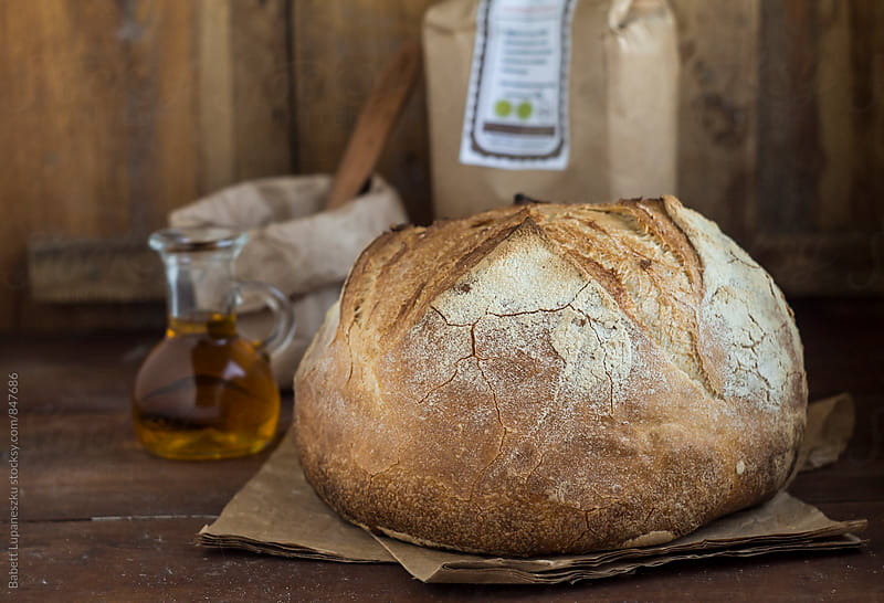 Handmade rustic bread by Viktorné Lupaneszku for Stocksy United