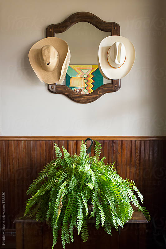 Hats hanging on a mirror with fern by Nicole Mlakar for Stocksy United