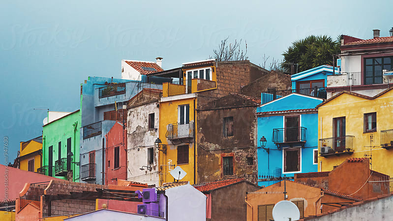 Colored houses in Bosa, Sardinia by Luca Pierro for Stocksy United