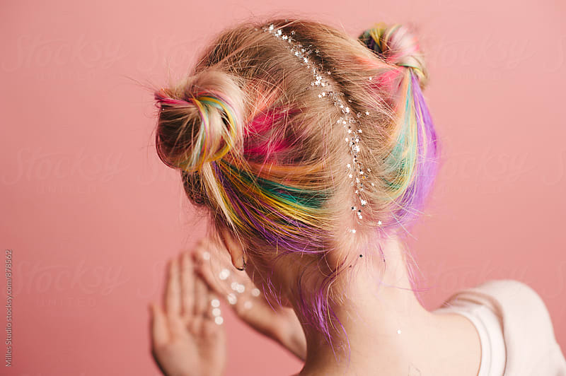 Woman with colorful hair by Milles Studio for Stocksy United