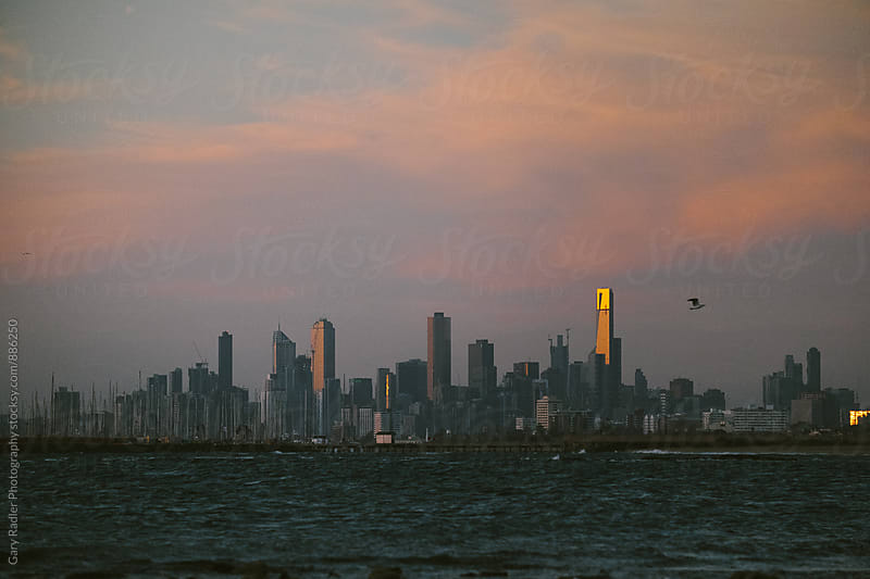 Melbourne CBD from Brighton Beach by Gary Radler Photography for Stocksy United