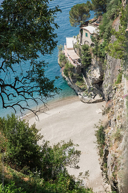 House with steps to private beach on the Amalfi Coast, Southern Italy by Ruth Black for Stocksy United