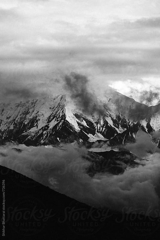 Dramatic monochromatic mountains of Annapurna Range. by Shikhar Bhattarai for Stocksy United