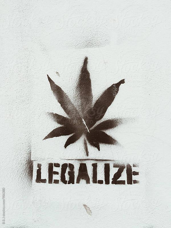 Legalalize marijuana stencil wall art by B & J for Stocksy United