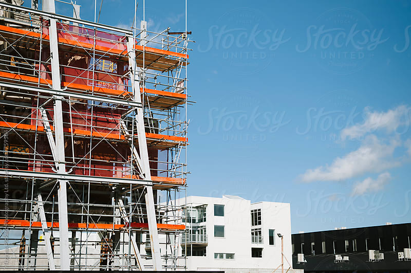 Building scaffolding against a blue sky, Christchurch, New Zealand. by Thomas Pickard Photography Ltd. for Stocksy United