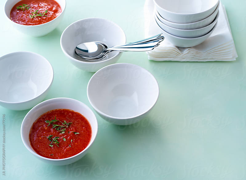 White bowls and tomato soup by J.R. PHOTOGRAPHY for Stocksy United