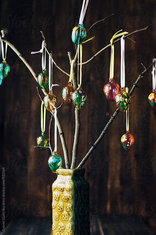 Ornamental Easter eggs on branches by Gabriel (Gabi) Bucataru for Stocksy United